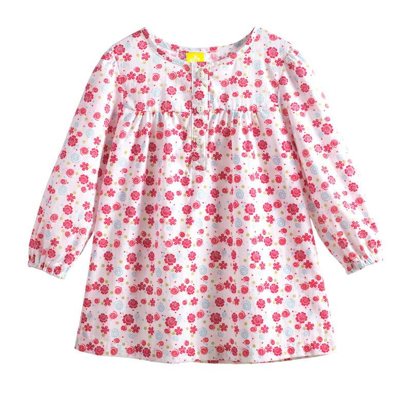 ~傑媽 ~純棉梭織小女生洋裝 裙式上衣~白底紅花~74101~4~