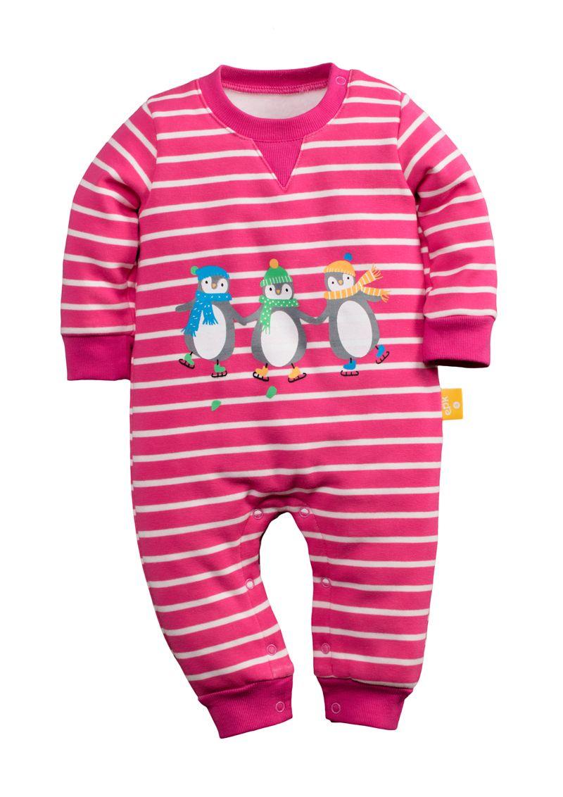 ☆傑媽童裝☆冬季保暖不倒絨動物系長袖連身衣-桃條紋企鵝【77109-2】