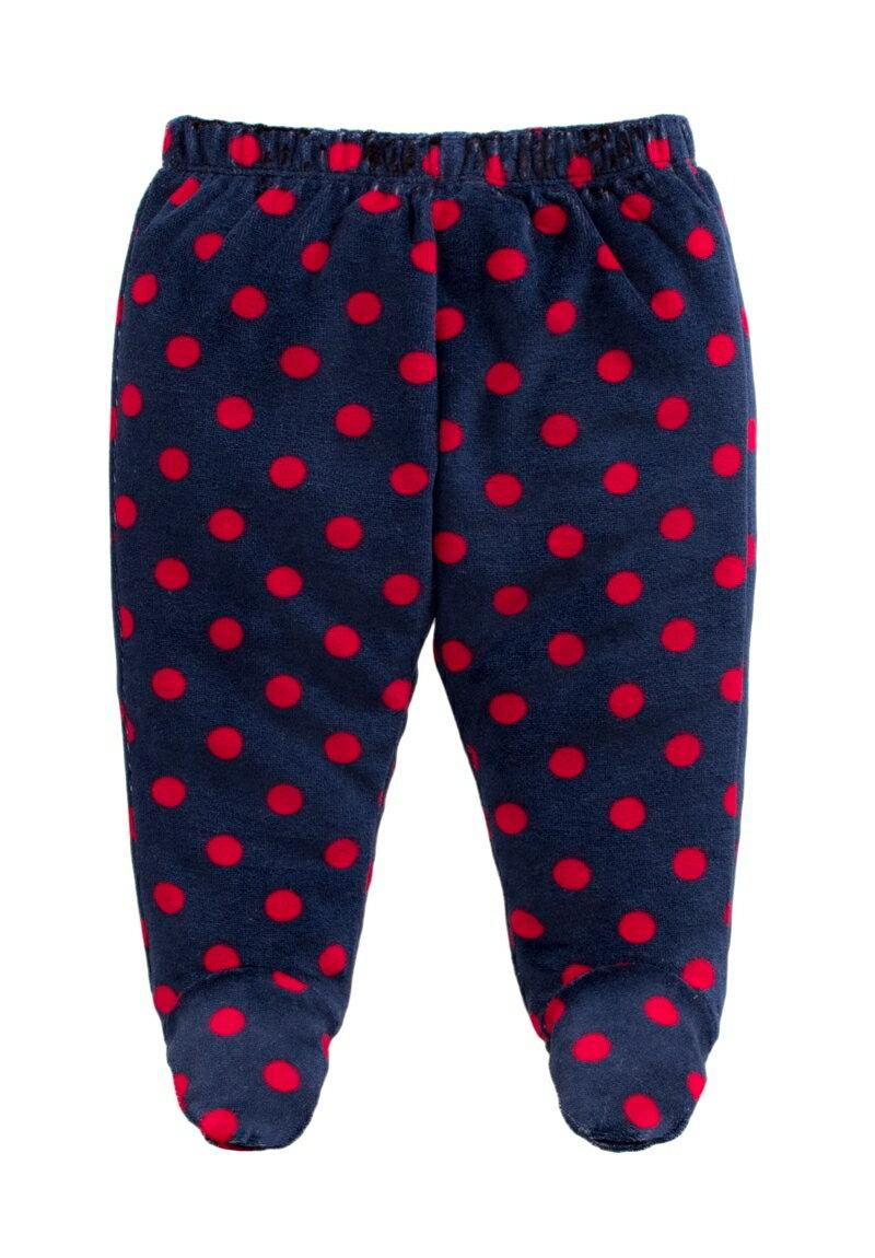 ☆傑媽童裝☆保暖天鵝絨寶寶包腳褲-深藍紅點【84079-7】