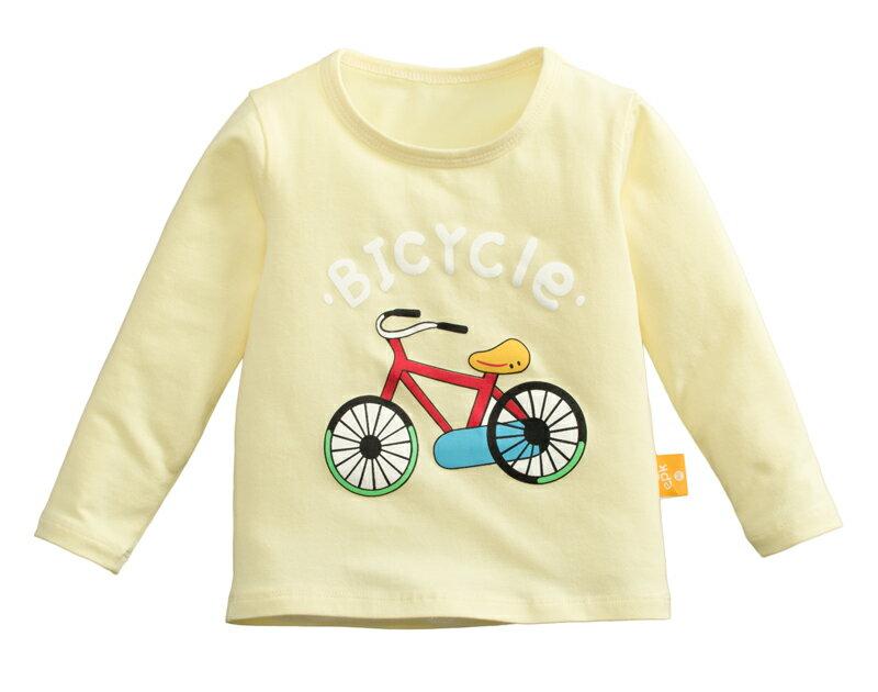 ☆傑媽童裝☆純棉小男生中大童長袖上衣-黃底腳踏車【97087-1】