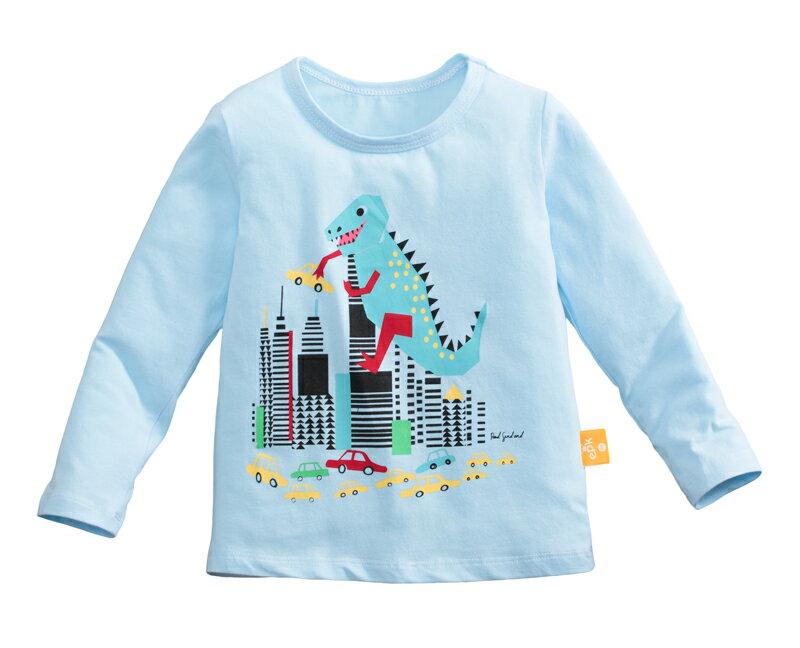 童裝 現貨 純棉小男生中大童長袖上衣-02淺藍恐龍【97087】