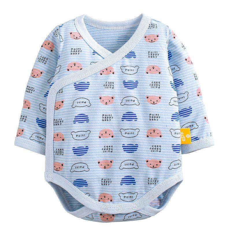 童裝 現貨 單層純棉包手側開長袖包屁衣-01藍條熊臉【10113】