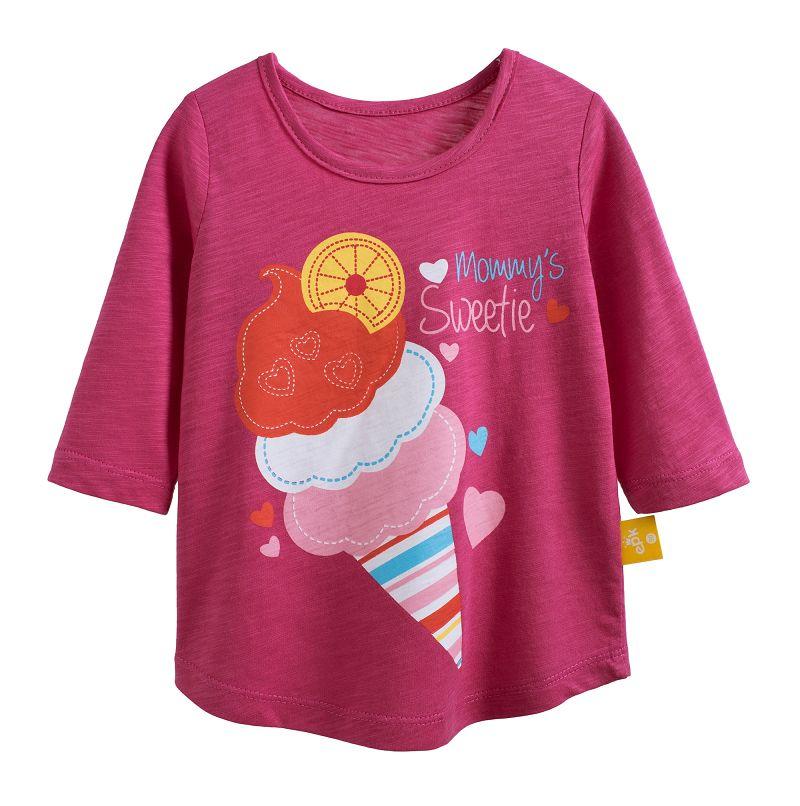 ~傑媽 ~純棉 竹節棉印花款中大童七分袖上衣~桃紅底冰淇淋~37153~4~