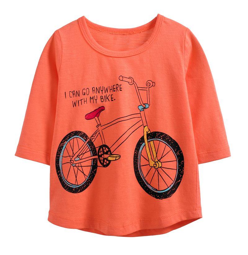 ~傑媽 ~純棉  竹節棉印花款中大童七分袖上衣~橘底腳踏車~37153~9~