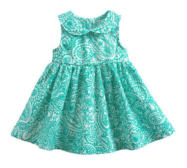 童裝現貨精梳棉碎花款小童小洋裝-綠底幾何花【50186】