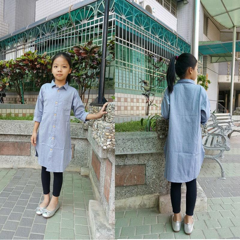 童裝 現貨 高級精梳棉長版襯衫外套/上衣-淺牛仔藍【94157】