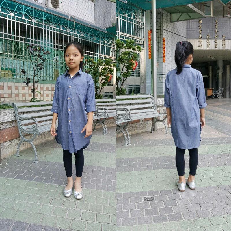 童裝 現貨 高級精梳棉長版襯衫外套/上衣-牛仔藍【94157】