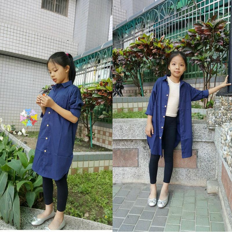 ☆傑媽童裝☆高級精梳棉長版襯衫外套/上衣-深藍色【94157-4】