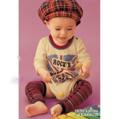 ☆傑媽童裝☆棉質學院風暗紅格紋長襪套/保暖/學爬必備【A45】