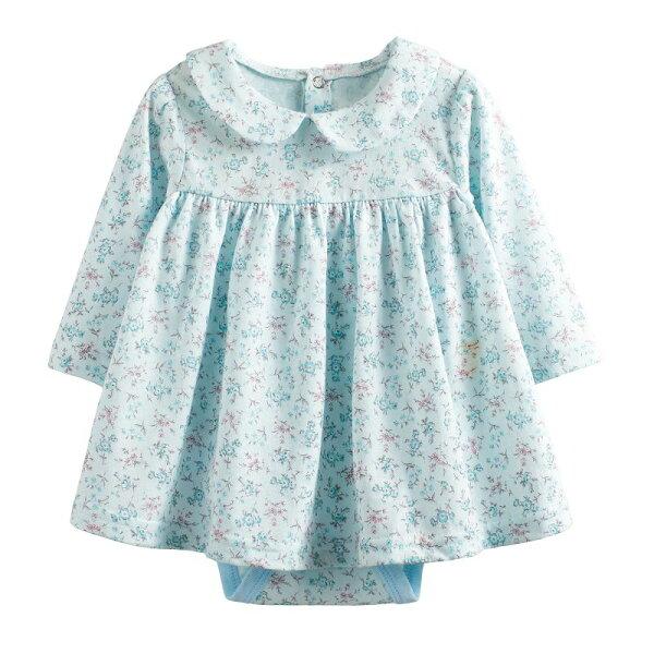 童裝現貨純棉荷葉領碎花款裙式連身衣-A款藍花【10243】