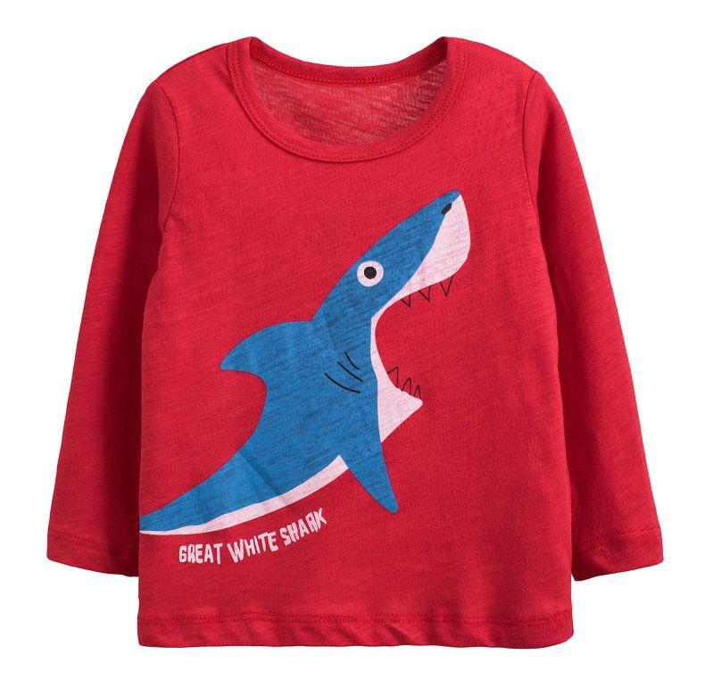童裝 現貨 小男生卡通款竹節棉長袖上衣-02紅底鯊魚【60212】