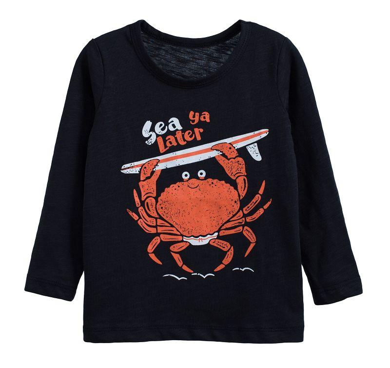 童裝 現貨 小男生卡通款竹節棉長袖上衣-05深藍螃蟹【60212】