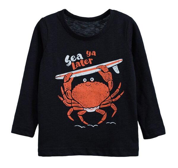 童裝現貨小男生卡通款竹節棉長袖上衣-05深藍螃蟹【60212】