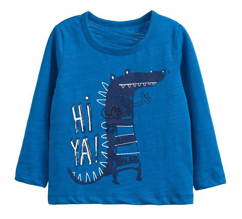 童裝 現貨 小男生卡通款竹節棉長袖上衣-06藍底恐龍【60212】