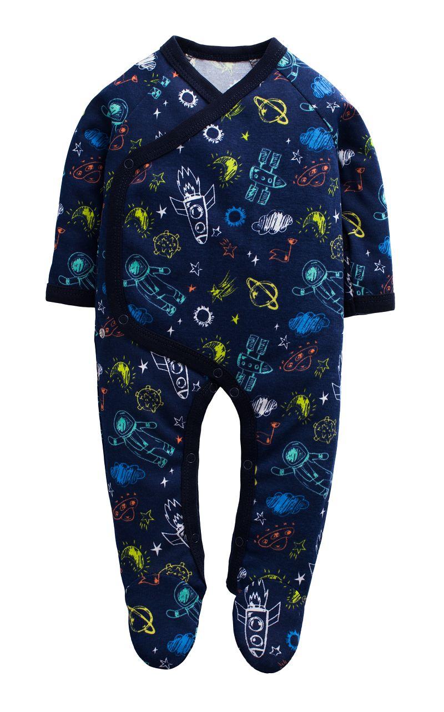 童裝 現貨 螺紋棉滿印歐美風包腳連身衣-01款深藍底太空【74214】