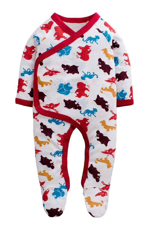 童裝 現貨 螺紋棉滿印歐美風包腳連身衣-03款白底彩色動物【74214】