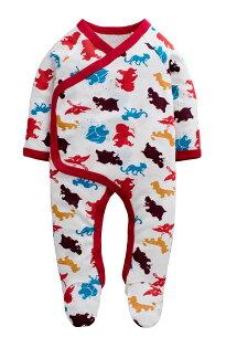 童裝現貨螺紋棉滿印歐美風包腳連身衣-03彩色動物【74214】