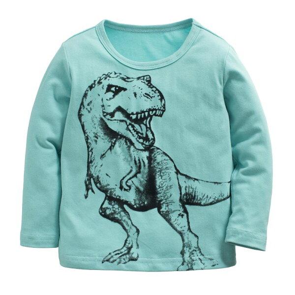 童裝現貨純棉拉架恐龍車車長袖T恤-11款藍綠色【94241】