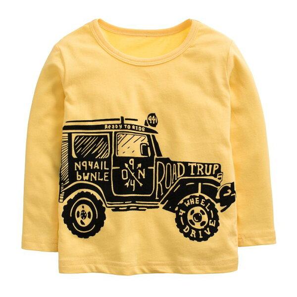 童裝現貨純棉拉架恐龍車車長袖T恤-05款亮黃色【94241】