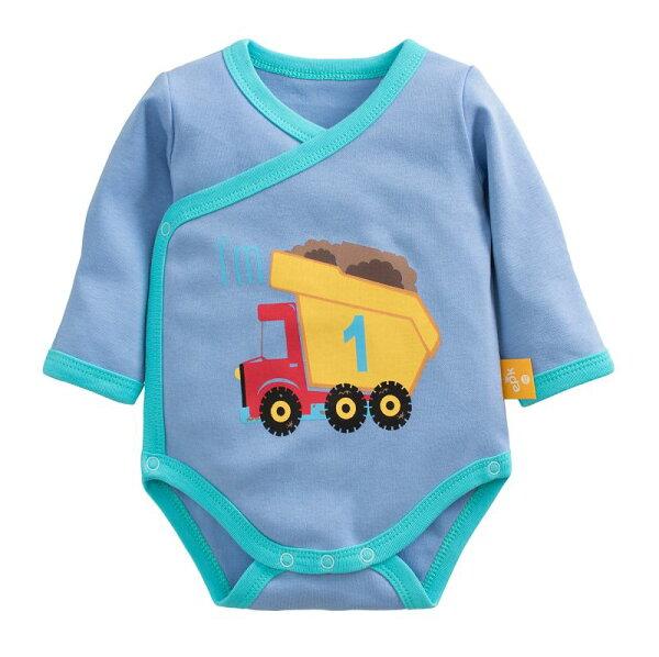 童裝現貨雙層棉寶寶側開包手包屁衣-淺藍底車車【97209】