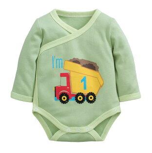 童裝現貨雙層棉寶寶側開包手包屁衣-淺綠底車車【97209】