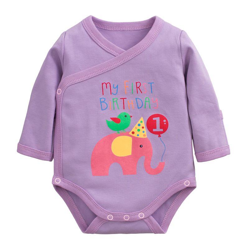 ☆傑媽童裝☆雙層棉寶寶側開包手包屁衣-紫底粉象【97209-4】