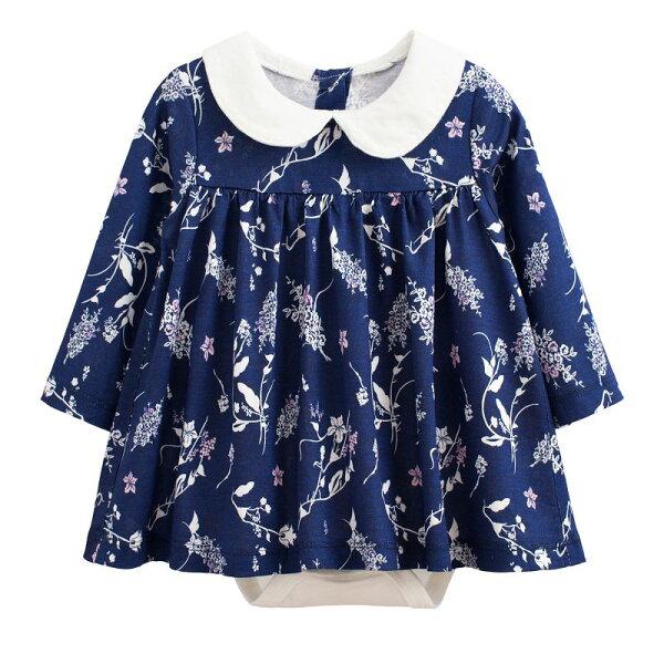 童裝現貨娃娃款長袖裙式連身衣-01深藍白花【97213】