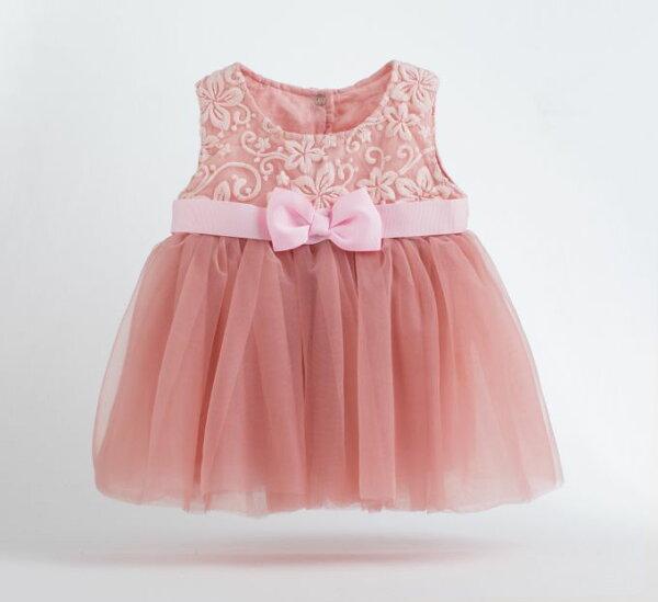 童裝現貨小女生網紗小禮服,4歲以內可穿-粉色【17310】