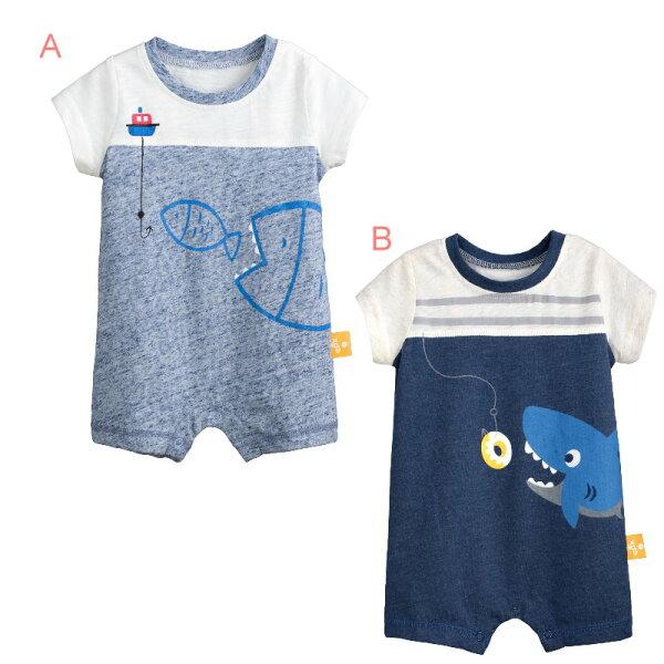 童裝現貨海魚短袖平腳連身衣,2色可選【97364】