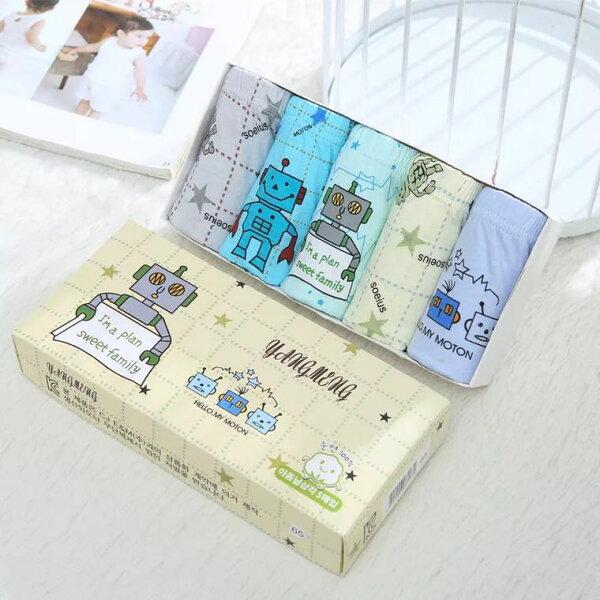 現貨純棉卡通三角內褲5件組-11機器人【A257】