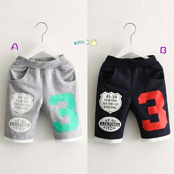童裝現貨數字3印花運動4分褲,2色可選【14440】