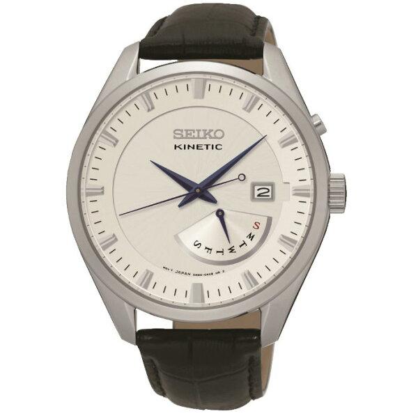 SeikoCS系列5M84-0AB0W(SRN071P1)人動電能雙日曆經典腕錶白面43.6mm