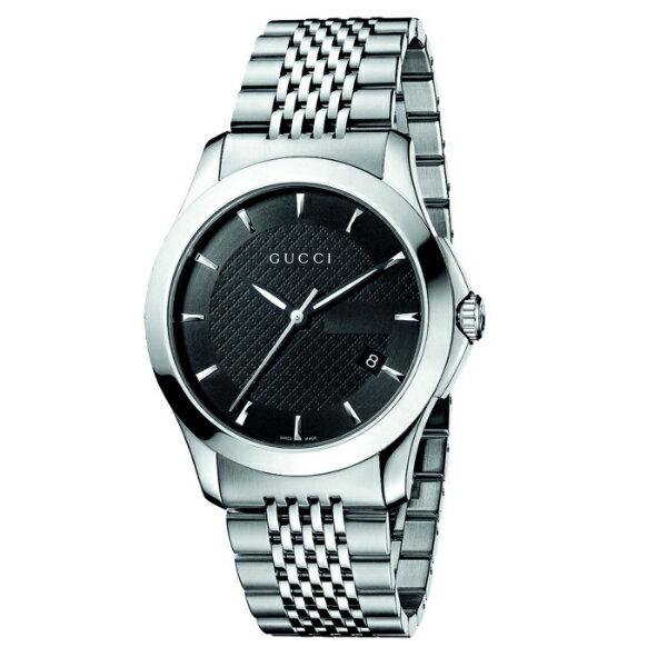 Gucci 古吉YA126402中碼經典G面時尚白腕錶/黑面38mm