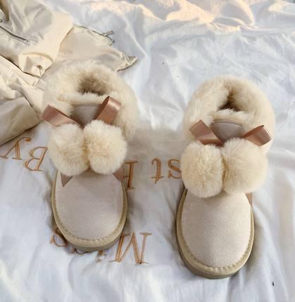 雪地靴女2020年秋冬新款可愛加絨加厚一腳蹬中筒保暖麵包鞋棉鞋『xxs9922』