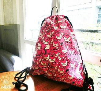小熊日系*迪士尼 熊抱哥 草莓熊 後背束口包 後背包 後背袋 收納袋 書包