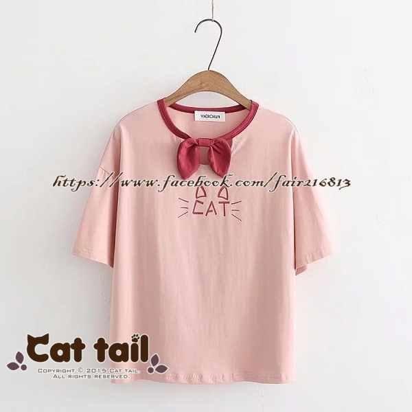 《貓尾巴》TS-0828日系學院風可愛貓臉印花短袖T恤(森林系日系棉麻文青清新)