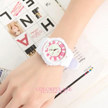 立體刻度運動浮雕防水30米手錶 韓系女孩帥氣矽膠腕錶 柒彩年代【NE679】單支
