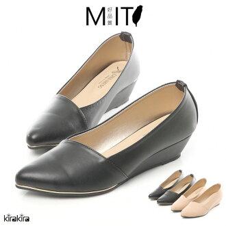 MIT小金邊斜口微尖頭楔型跟鞋