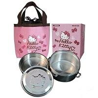 野餐盒不可缺單品【真愛日本】 14081600001 鋼印便當盒ST附袋-粉結 三麗鷗 Hello Kitty 凱蒂貓 野餐盒 便當袋 飯盒