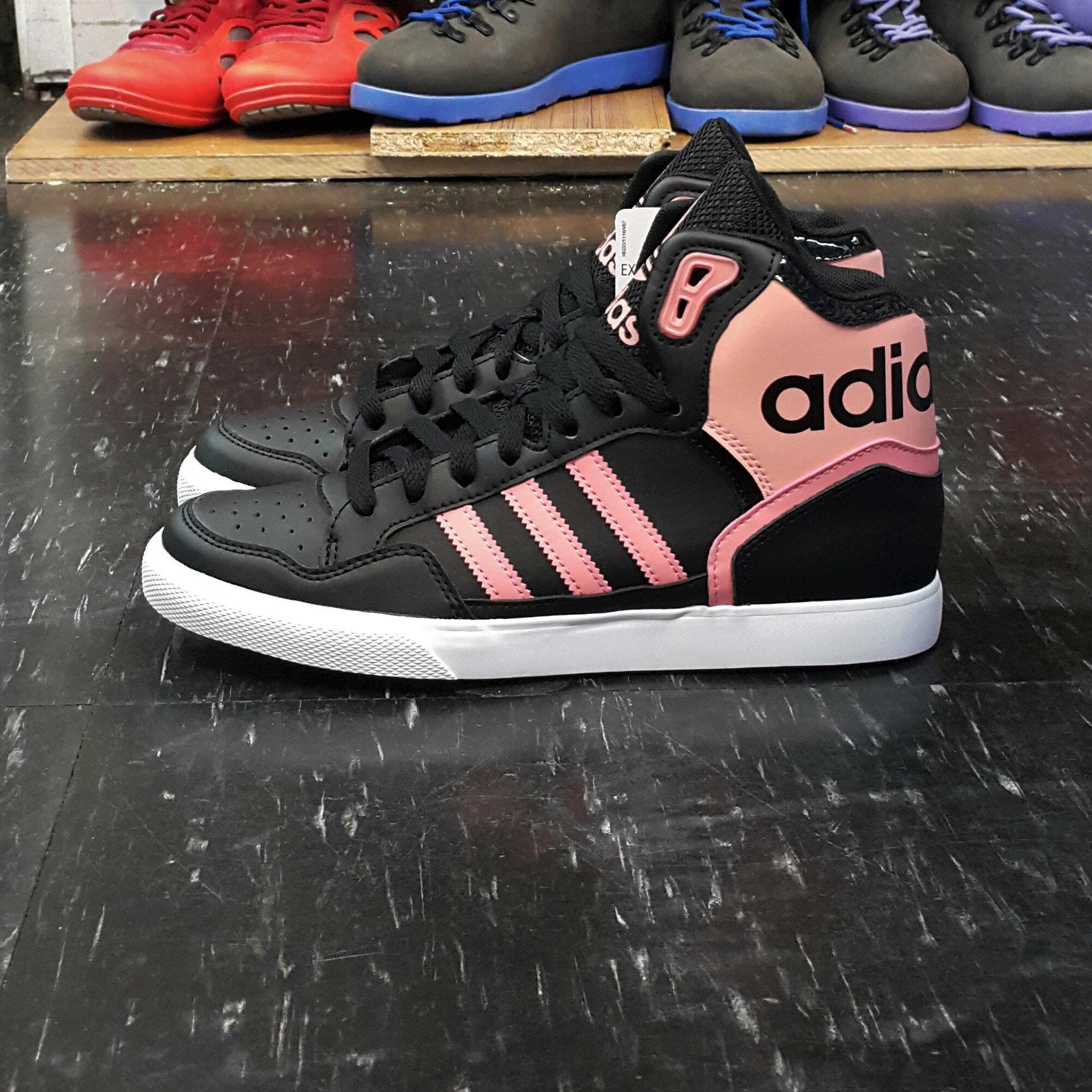 adidas EXTABALL W 高筒 大鞋舌 黑色 粉紅色 黑粉 皮革 CP9625