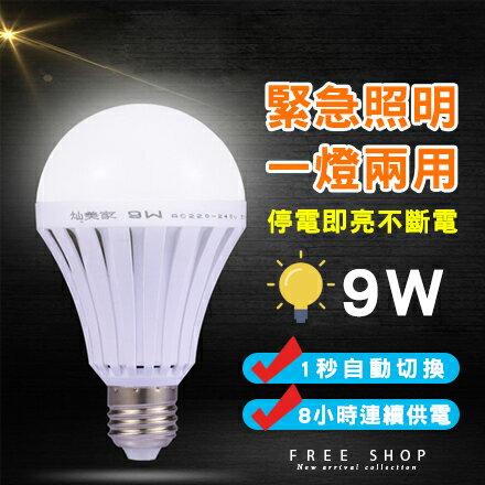 Free Shop 特價1組2入 LED智慧緊急照明燈泡9W 應急燈泡神奇燈泡智能充電停電照明燈【QAASL7100】