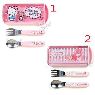 日本製HELLO KITTY美樂蒂兒童餐具組湯匙叉子2合1 2選1 10460672*JJL*