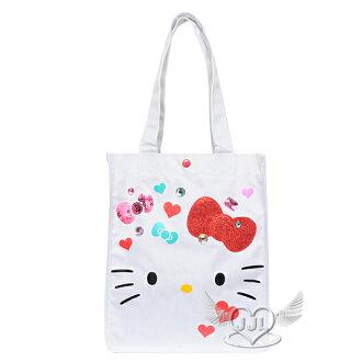 *JJL*HELLO KITTY歐美限定版大臉寶石亮片手提袋肩背包側背包包 002046