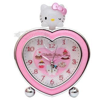 *JJL*台灣製HELLO KITTY立體大頭心型鬧鐘時鐘 135617