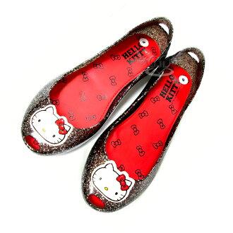台灣製HELLO KITTY透明金蔥果凍鞋娃娃鞋鞋子黑色35~39號 5選1 95711390*JJL*