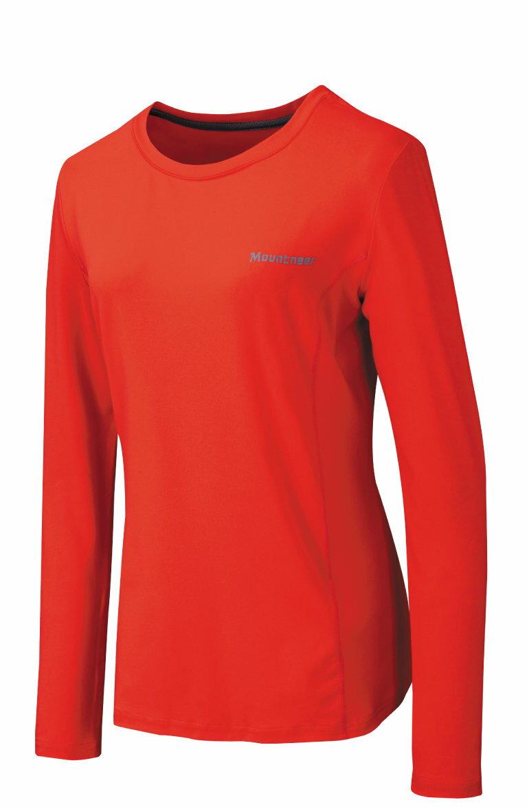 【【蘋果戶外】】山林 21P26-42 橘紅 Mountneer 女 透氣排汗長袖上衣 吸濕排汗衣 防曬 抗UV 彈性