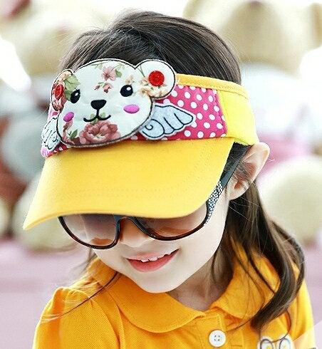 Lemonkid◆超可愛立體印花小熊翅膀點點兒童防曬空頂鴨舌帽-橙色帽檐