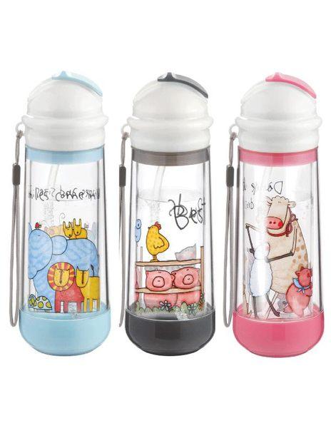 美國DRINKADEUX 雙層防撞玻璃瓶安全水壺-卡通吸管款【黑色】