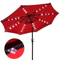 Yescom USA 9-ft Patio Umbrella W/32 Solar Powered LEDS 07UMB005
