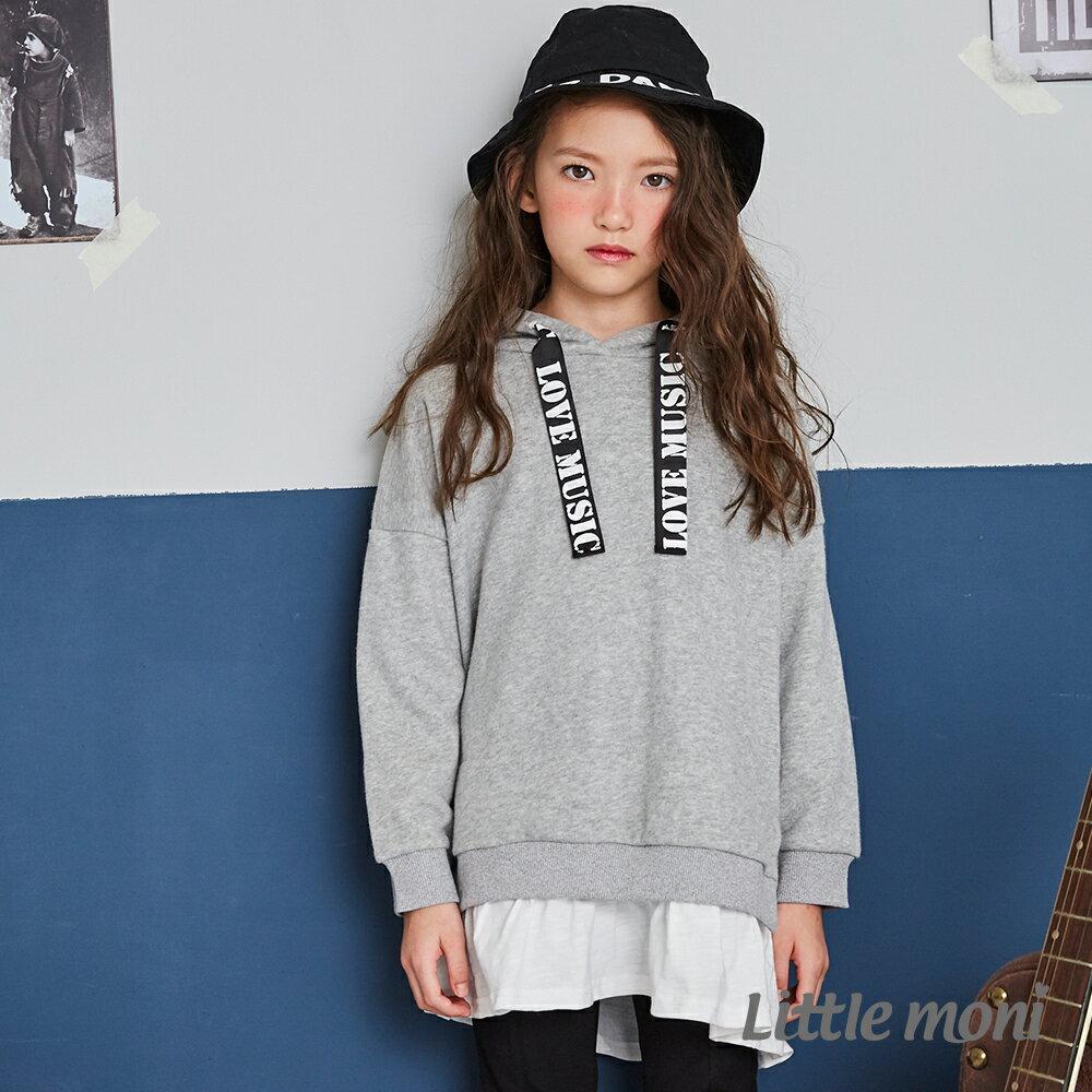 Little moni 連帽織帶拼接長版上衣-灰色(好窩生活節) 1